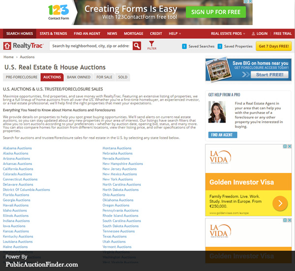 Top 10 real estate auction sites public auction finder for Top 10 online selling sites